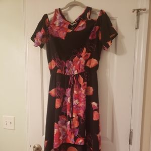 Women's Black and Floral Maxi Dress